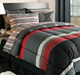 Kreative Kids Black, Gray & Red Stripes Boys Teen Twin Comforter Set (5 Piece Bed in A Bag)