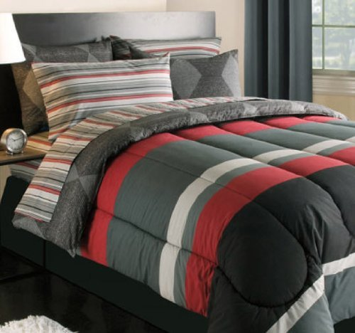Black, Gray & Red Stripes Boys Teen Twin Comforter Set (5 Piece Bed In A Bag)