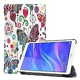 XMeter Etui pour téléphone Coque Huawei MediaPad T5, [Hibou/Papillon/Fleur/Pissenlit/Tour Eiffel] Design Etui Smart Tablet Stand...