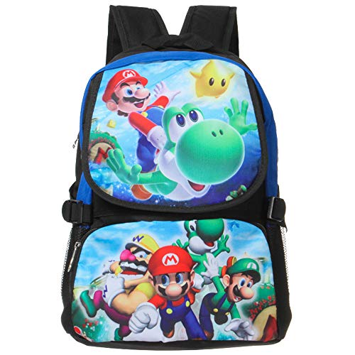 ASLNSONG Anime Backpack Super Mario Cartoon 18.8L School Bag Rucksack for Teens (B)