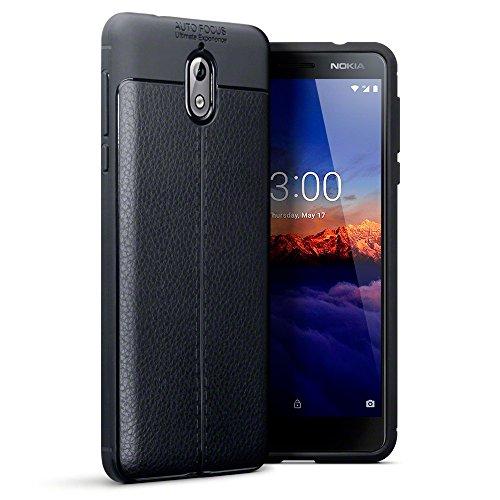 TERRAPIN Funda para Nokia 3.1 Protectiva de Silicona Gel TPU Estrecha de Diseño de Textura de Cuero - Negro