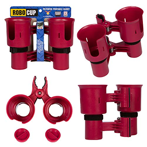 ROBOCUP, RED, Updated Version, Best Cup Holder for Drinks, Fishing Rod/Pole, Boat, Beach Chair, Golf Cart, Wheelchair, Walker, Drum Sticks, Microphone Stand