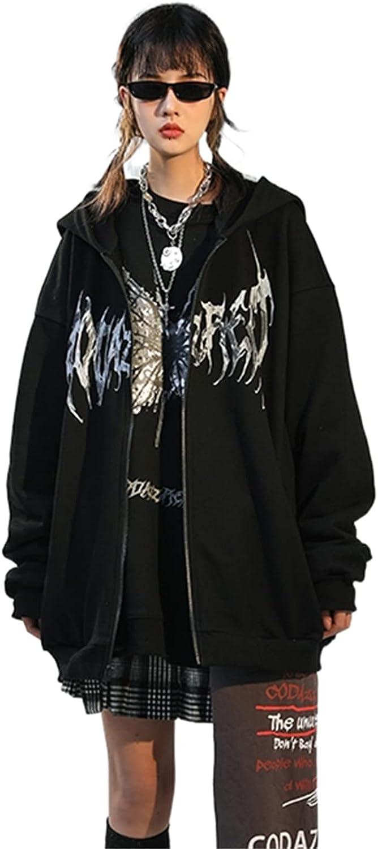 Women Y2k Aesthetic Hoodie Graphic Star Print Punk Sweatshirt Portrait Long Sleeve Loose Pullover Oversize