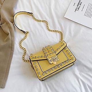 Adebie - Crossbody Bag Rivet Chains Female Small Luxury Designer Girls 2019 New Diamond Shoulder Bag PU Flap Fashion Women Messenger Bag Yellow []