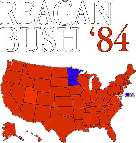 """Reagan Bush '84 Retro Logo Red White Blue Election Map Ronald George 1984 84 Red States Electoral College Vinyl Decal Bumper Wall Laptop Window Sticker 5"""" -  RB2-STICKER-252, Generic"""