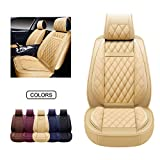 OASIS AUTO Leather Car Seat Covers, Faux Leatherette Automotive Vehicle Cushion Cover for Cars SUV Pick-up Truck Universal Fit Set for Auto Interior Accessories (OS-009 Front Pair, TAN)