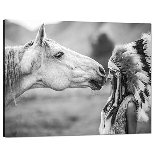 Horse Pictures Wall Decor Native American Indian Girl Wall Art Black White Painting Women and Horse Print on Canvas Modern Home Decor Posters Artwork Framed Stretched for Living Room [40''W x 30''H]