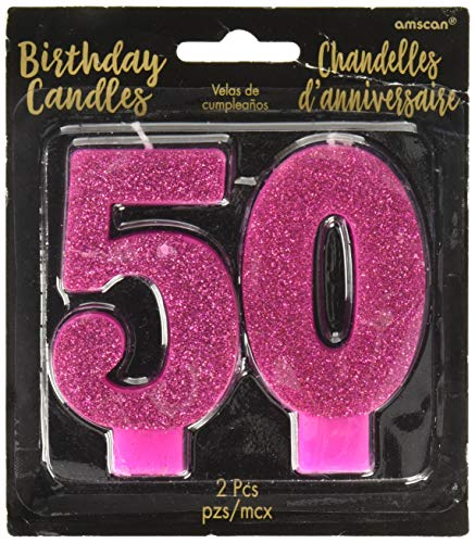 Pink and Gold Milestone '50' Numeral Candles, Party Favor