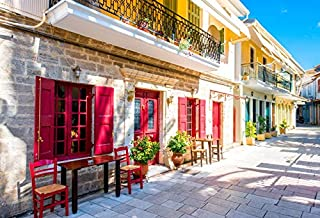 Laeacco Colorful Old House Street View Backdrop 10x8ft Photography Background Greece Town Blue Sky Weeding Holiday Indoor Decors Wallpaper Children Kid Adults Portraits Photo Shooting Studio Props