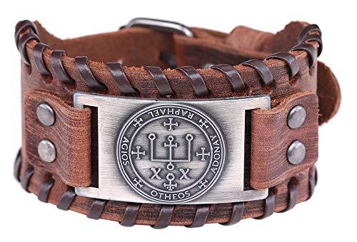 VASSAGO Vintage Talismán Sello de Salomón El Sigil del Arcángel Raphael Charm Pulsera de cuero marrón joyería regalo