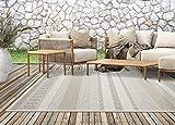 Calgary In- & Outdoor Teppich Flachgewebe, Modernes Design, Trendige Farben, Superflach, UV- und Witterungsbeständig, Beige, 160 x 220 cm