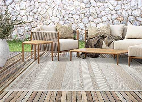 the carpet Calgary In- & Outdoor Teppich Flachgewebe, Modernes Design, Trendige Farben, Superflach, UV- und Witterungsbeständig, Beige, 160 x 220 cm