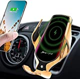 LUKKAHH R2 Wireless Car Charger Mount,Auto-Clamping Air Vent Phone Holder,10W Qi Fast Car Charging,Compatible iPhone 12/12Pro/11/11 Pro/XS Max/X/8/8+, Samsung Note9/Note10/S9+/S10+(Gold)