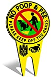 BesLife - Double Sided Sign - No Pooping Dog Signs For Yard - Please Keep Off The Grass Sign - Dont Poop in My Yard Sign with Stake - No Pooping Dog Sign - Dog Signs for Yard