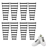 Black Shoe Laces for Sneakers Elastic Shoe Laces for Adults No Tie Shoe Laces,Shoe Laces No Tie Adult Black Shoe Strings,Tieless Stretch Rubber Laceless Tie Free Multipack(4 Pack,Black)
