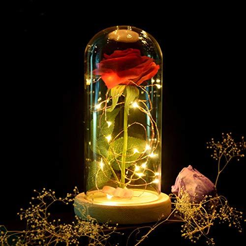 Fransande - Rosa eterna y roja y luz LED con pétalos tumbas en el dome de cristal sobre una base de madera, el mejor regalo para San Valentín, color blanco