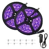 Escolite 33ft LED UV Black Light Strip Kit, 600 Units UV Lamp Beads, 12V Flexible Blacklight Fixtures, 10M LED Black Light Ribbon, Non-Waterproof for Indoor DanceParty, Body Paint,Fluorescent, Bedroom