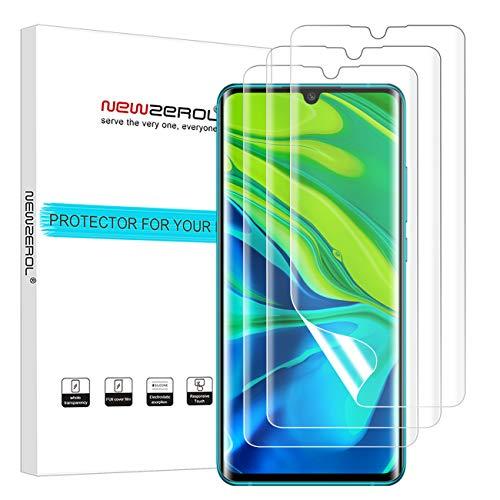 NEWZEROL [3 Stücke] Ersatz für Xiaomi Mi Note 10/Mi Note 10 Pro/Mi Note 10 Lite Bildschirmschutzfolie, [Fingerabdruckerkennung auf dem Display] [Premium-Qualität] Anti-Bubble-TPU