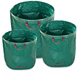 WUNDERGARDEN Set de 3 Bolsas de Basura de jardín 1x200 L, 1x300 L y 1x500 L | para residuos de jardín, Hojas secas, restos de poda, residuos de Plantas, Compost | Redondas, estables y Plegables