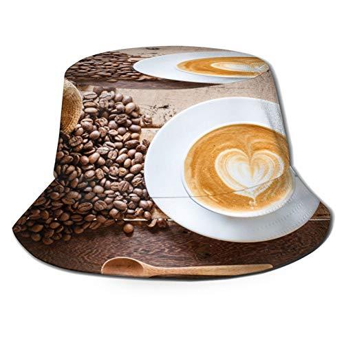 Unisex Fischerhut Kaffee Latte mit Kaffeebohnen Faltbare Outdoor Strand Sonnenhut Eimer Hut,Wandern,Camping