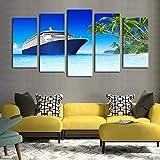 Enmarcado 5 paneles crucero de lujo paisaje marino imagen impresión pintura lienzo decoración de la pared artista decoración del hogar Cuadros arte de la pared lienzo