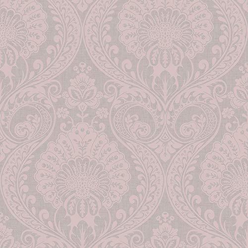 Arthouse 910306 - Carta da parati damascata, con texture metallizzate, colore: Rosa scuro