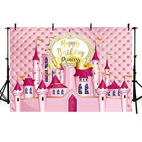 Mehofoto Prinzessinnenschloss Geburtstag Fotostudio-Hintergrund rosa Kopfteil Mädchen Gold Geburtstag Bordüre Fotografie Hintergründe Banner...