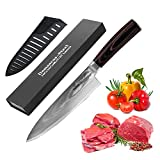 Utility Knife - Professional Chef's Knife, 8 inch High-Quality VG10 Damascus Steel Sharp Blade and Humanized Wooden Handle