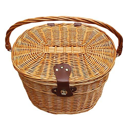 LIOOBO Fahrradkorb Wicker Frontlenker Fahrradkorb Cargo Front Box mit Deckel und Griff für Hundepicknick Schwinn