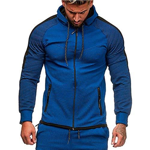 Covermason Sweat-Shirt Homme Automne Manches Longues Pull Uni Zippé Sweat à Capuche Blouson Veste Sport Top Tee Outwear Blouse