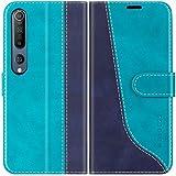 Mulbess Handyhülle für Xiaomi Mi 10 Pro Hülle Leder, Xiaomi Mi 10 Pro Handy Hüllen, Modisch Flip Handytasche Schutzhülle für Xiaomi Mi 10 / Mi 10 Pro, Mint Blau