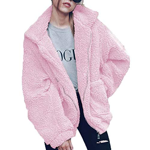 Autumn And Winter Plus Velvet Padded Jacket Women'S Warm All-Match Blouse Pink