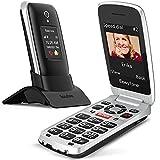 Easyfone Prime-A1 Pro gsm Teléfono Móvil para Mayores con Tapa, Botón SOS con GPS, Audífonos Compatibles, Batería 1500mAh, Telefonos basicos para Mayores con Base de Carga (Negro)