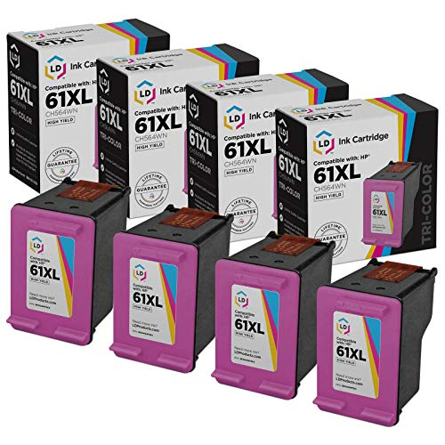 LD Remanufactured Ink Cartridge Replacement for HP 61XL CH564WN High Yield (Tri Color, 4-Pack)