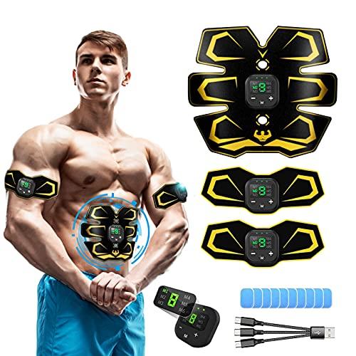 MATEHOM Bauchtrainer, EMS Trainingsgerät Bauchmuskeltrainer, USB-Wiederaufladbarer Tragbarer Muskelstimulator, Muskelstimulation Muskelstimulator für Herren Damen zur Muskelaufbau