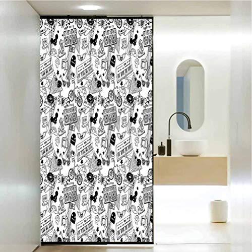 DIYHomeDecorationGlassStickersWindowFilm, Black and White Punk Teenage Pattern Cassette Keyboard, Bathroom Office Meeting Room Living Room Window Membrane, W17.7xH35.4 Inch
