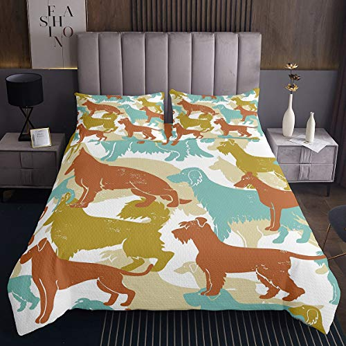 Lindo juego de edredón de perro de lobo de dibujos animados para niños niñas acuarela amarillo azul decoración Coverlet Love Dog Animal Bed Cover Room Decor 2pcs tamaño individual