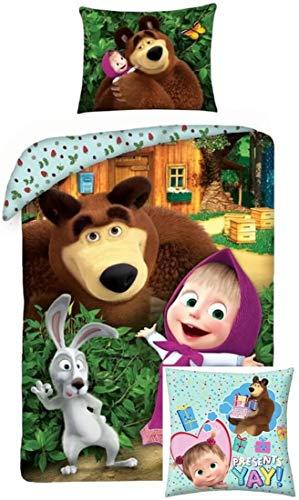 rainbowFUN.de Mascha und der Bär Kinder-Bettwäsche-Set 140x200 Baumwolle Deko-Kissen 40x40 Polyester