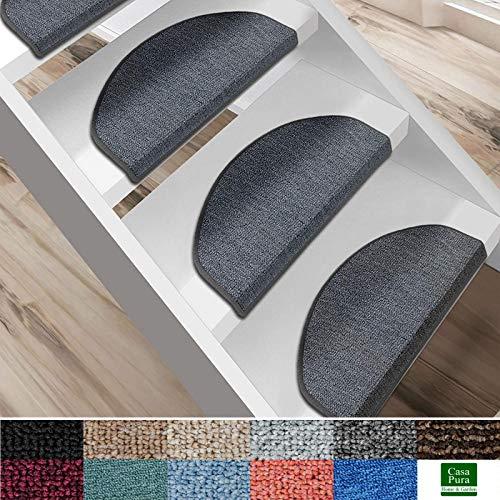 casa pura Kit de 15 marchettes d'escalier - Tapis Escalier | Nez de Marche en 11 Couleurs | Marchette Autocollante & Résistante | London - Gris Foncé (19x56)