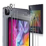 L K [4 Stück] 2 Stück Kamera Panzerglas für iPad Pro 11 inch (2020) + 2 Stück Schutzfolie Panzerglas, [Bubble Free] [Anti-Kratzer] HD Klar Kameraschutz Folie Gehärtetem Glas Bildschirmschutzfolie