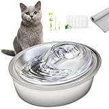 ORSDA Cat Water Fountain Stainless Steel, 67oz/2L Pet Fountain Dog Water Dispenser, Ultra-Quiet Automatic Cat Drinking Fountains with 6 Replacement Filters & 1 Silicone Mat for Cats, Small Dogs