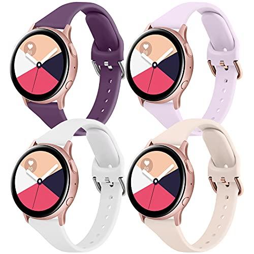 YZXL 20mm Sottile Cinturino per Samsung Galaxy Watch Active 2 40 mm 44 mm / Active 40mm , 4-Pezzi Silicone Cinturino per Galaxy Watch 3 41mm / Samsung Galaxy Watch 42mm / Gear S2 (4 colori-C)