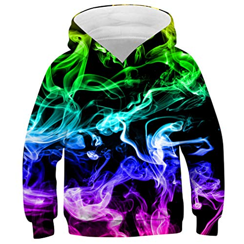 Idgreatim Kids Christmas Hoodie Funny 3D Print Pullover Sweatshirts Novelty Children Hooded Jumpers with Pockets, A-colorful Smoke, M