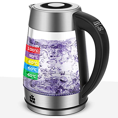 ForMe Glas Wasserkocher 1.7 mit Temperatureinstellung Temperaturwahl 40-100°C Farbwechsel LED Temperatur Einstellbar Glaskessel I Glaswasserkocher Edelstahl I Teekessel mit Warmhaltefunktion BPA Frei