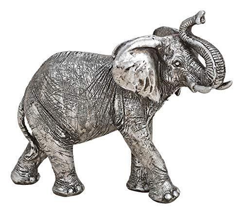 NAMENLOS Kleiner Elefant mit erhobenem Rüssel, Silber | Tier-Figur, Skulptur, Statue, Deko-Figur, Deko-Artikel, B 21 cm