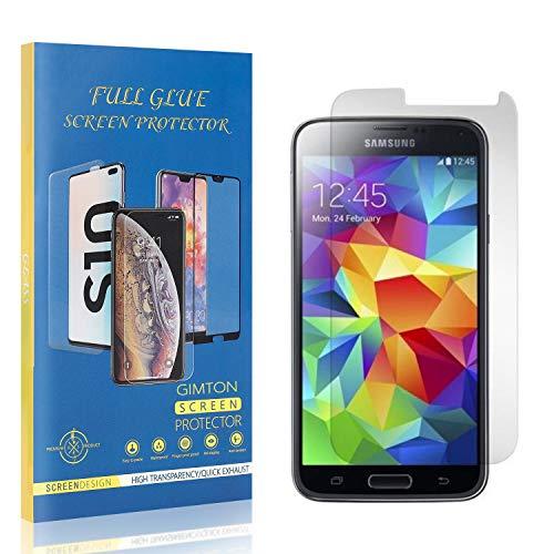 GIMTON Displayschutzfolie für Galaxy S5, 9H Härte Kratzfest Panzerglasfolie, Ultra Transparente Schutzfilm aus Gehärtetem Glas für Samsung Galaxy S5, 4 Stück