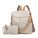 Backpacks for Women Fashion Leather Bags Satchel Bags Anti-theft Rucksack Ladies Travel Bags Handbags and Purses Bags 2Pcs