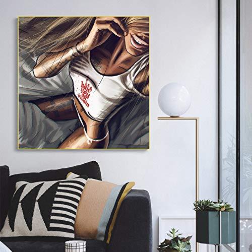 KWzEQ Chica Tatuaje Imagen Pop Art Pintura Abstracta Moderna sobre Lienzo Graffiti Street Art,Pintura sin Marco,70X70cm