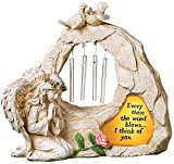 Angel Garden Statues Sympathy Gift with Solar - Cementary Decoration,Memorial Statue for Home Garden Cementary Sympathy Gift (Light Brown Angel Wind Chime)