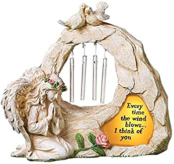 Angel Garden Statues Sympathy Gift with Solar - Cementary Decoration,Memorial Statue for Home Garden Cementary Sympathy Gift  Light Brown Angel Wind Chime
